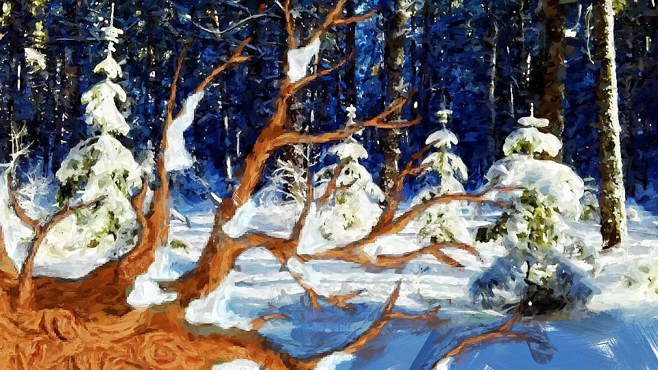 Pintura neve árvore caida