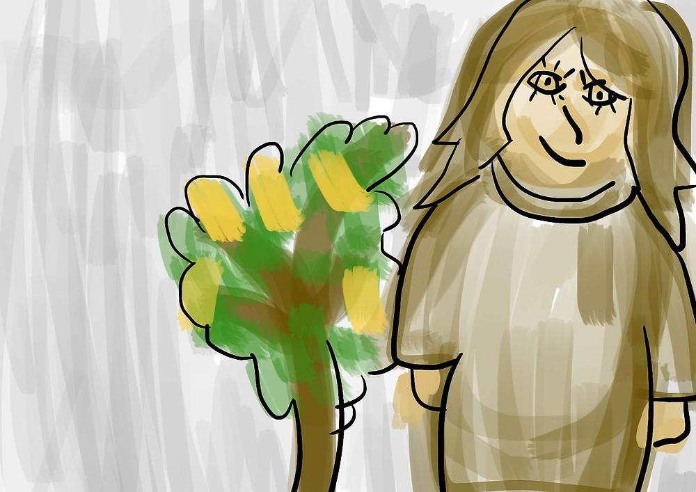 Ilustração Infantil Mulher e árvore ipê
