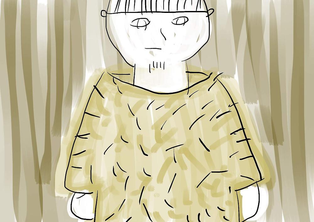 Ilustração Infantil pessoa vestido casaco