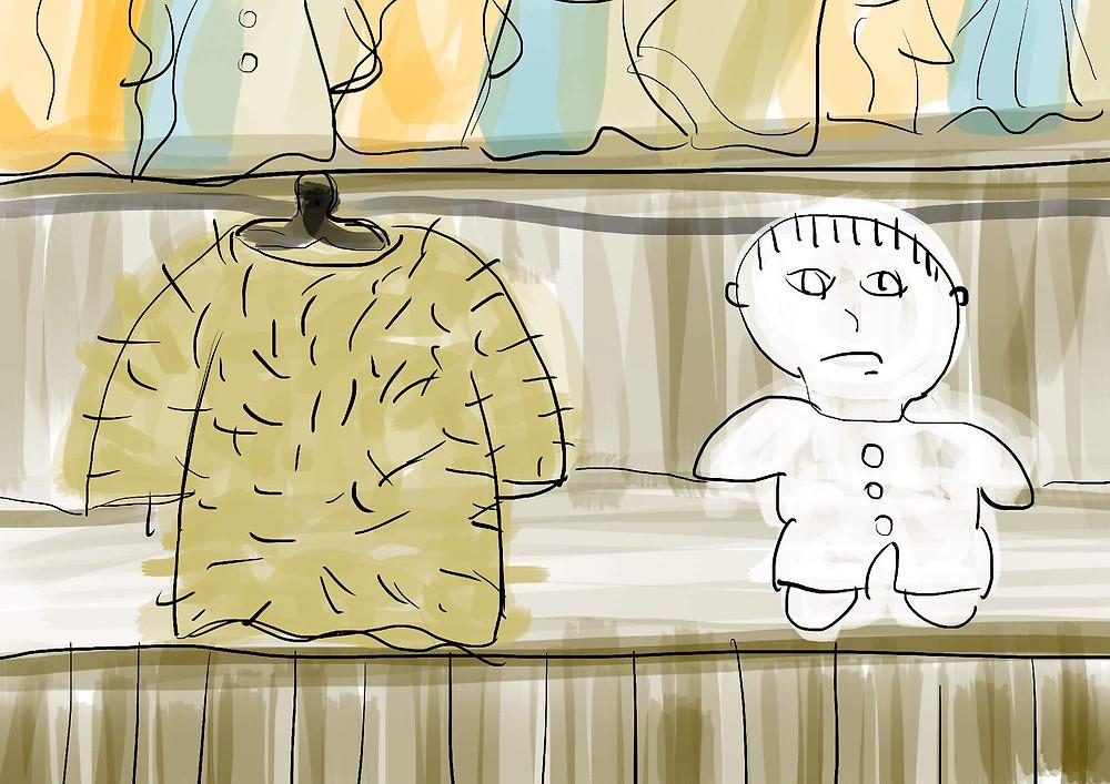 Ilustração menino sentado no armário