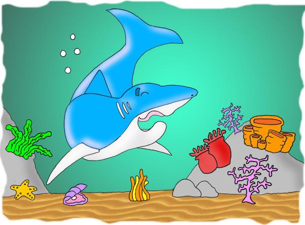 ilustração tubarão banguela fundo do mar