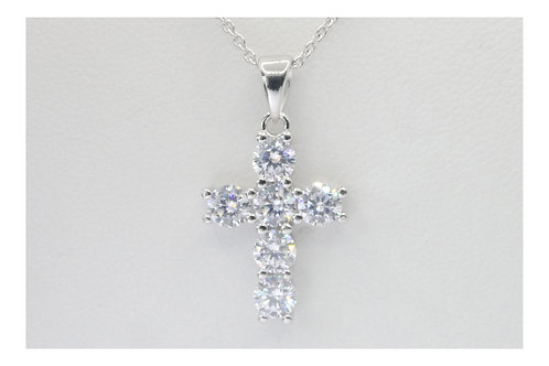 Six Diamond Cross Pendant