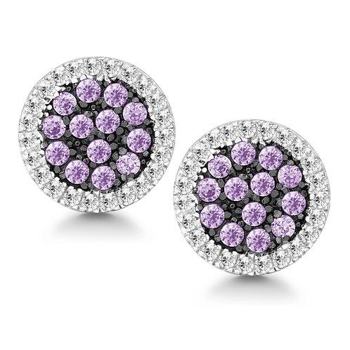 Halo style earrings surrounding pave set purple CZ
