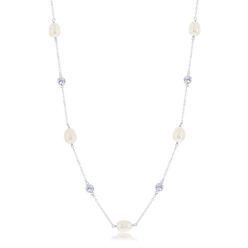 Sterling Silver Fresh Water Pearl and CZ Necklace