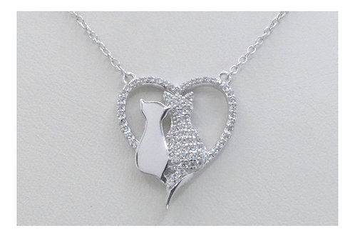 Cats in a Heart Pendant