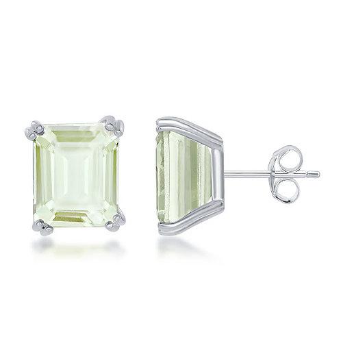Sterling Silver Natural Green Quartz Earrings