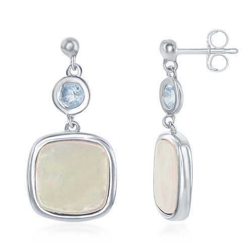 Blue Topaz & Mother of Pearl Earrings