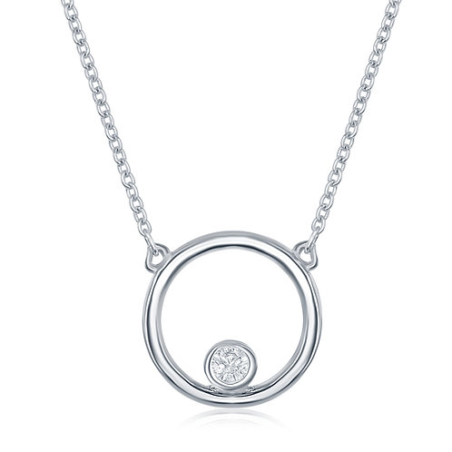 Double Circle CZ Diamond Pendant