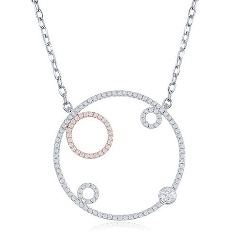f823d2636 Sterling silver micro pave CZ large open circle with three smaller circles  pendant. This is sterling silver with one circle rose in gold plated over  ...