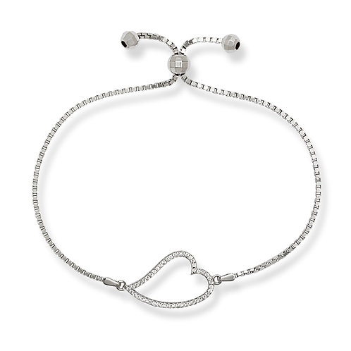 Sterling Silver Adjustable Heart Bracelet