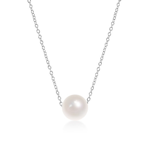 Sterling Silver 9mm Fresh Water Pearl Solitaire Necklace