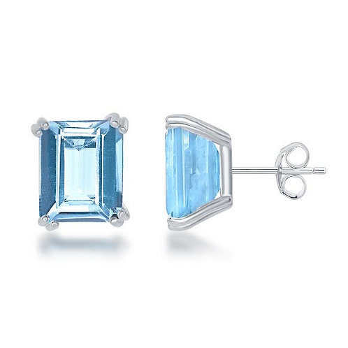 Natural Blue Topaz Stud Earrings