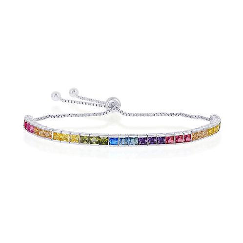 Rainbow Sterling Adjustable Bolo Bracelet
