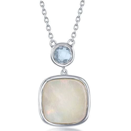 Natural Blue Topaz & Mother of Pearl Necklace