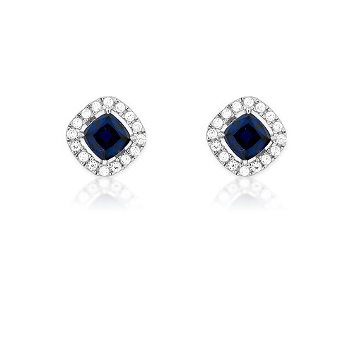 Sterling Silver Blue and White CZ Earrings