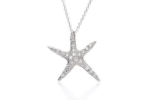 Sterling Silver Pave CZ Starfish Pendant