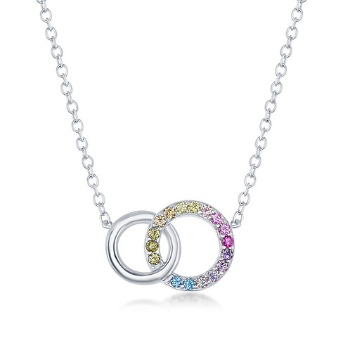 Rainbow and Sterling Double Circle Pendant
