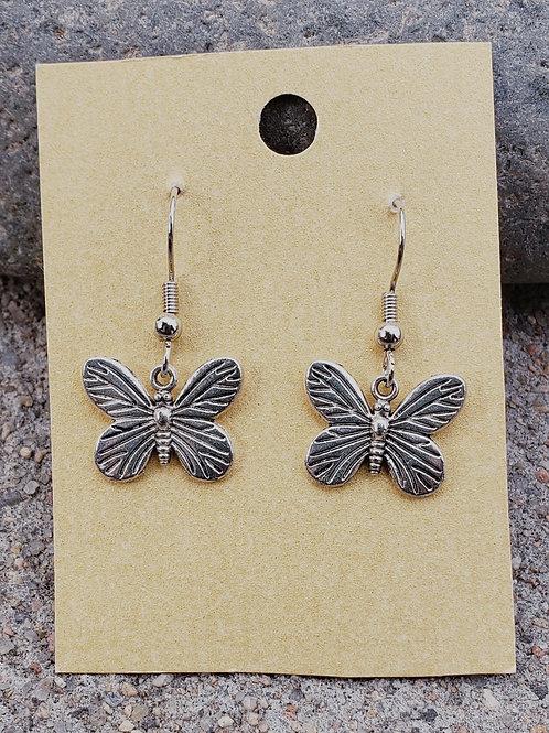 Solid Silver Tone Butterflies