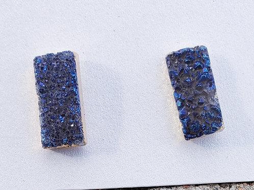 Blue Gold Druzy Studs