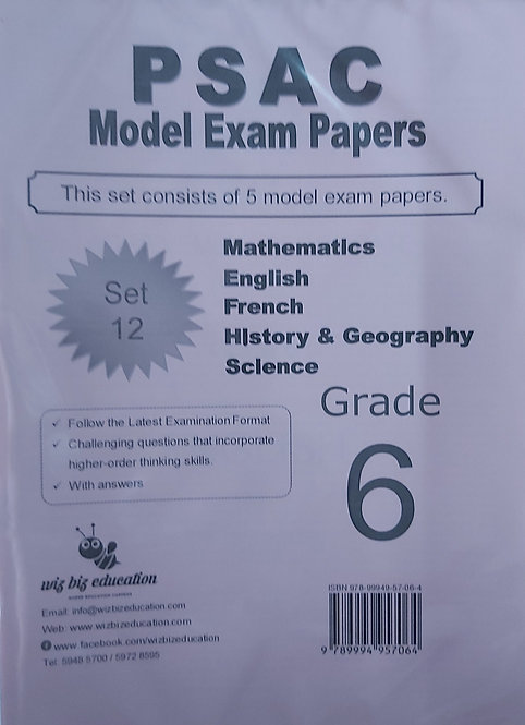 Psac G6 (Set12) Eng/Fren/Maths/Hist&Geo/Science With Answers