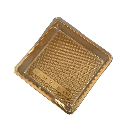Gold Based & Clear Plastic Lid Cake Containers Box (12x12) Pack of 12