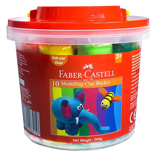 Faber Castell Modelling Clay 500Gm Plastic Bucket (10 Colours)