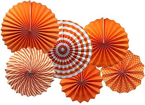 Hanging Paper Flower Fan Set Of 6-Orange