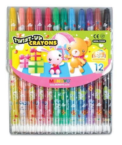 Mungyo Twist up Wax Crayons 12 Colours