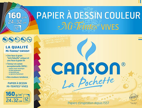 Canson Papier A Dessin Couleur (Pack of 12) (160g -24X32cm)