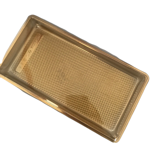 Gold Based & Clear Plastic Lid Cake Containers Box (13x25) Pack of 12