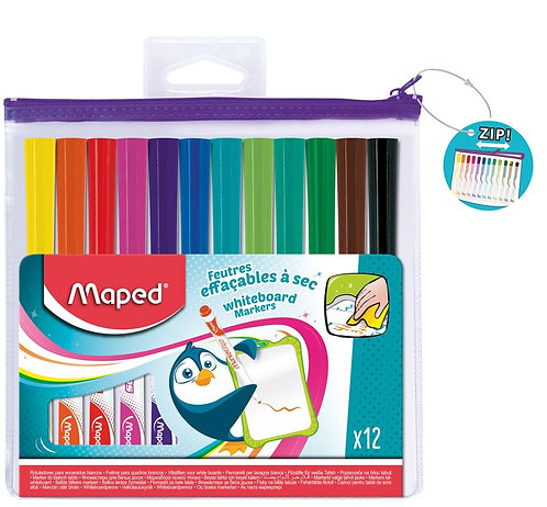 Maped Whiteboard Slim Assorted Colors (Pouch Of 12)