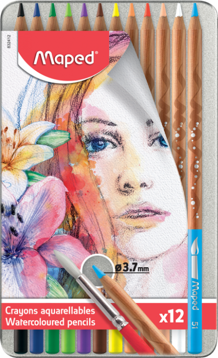 Water Color  Pencil Maped For Artists Metal (Box Of 12)