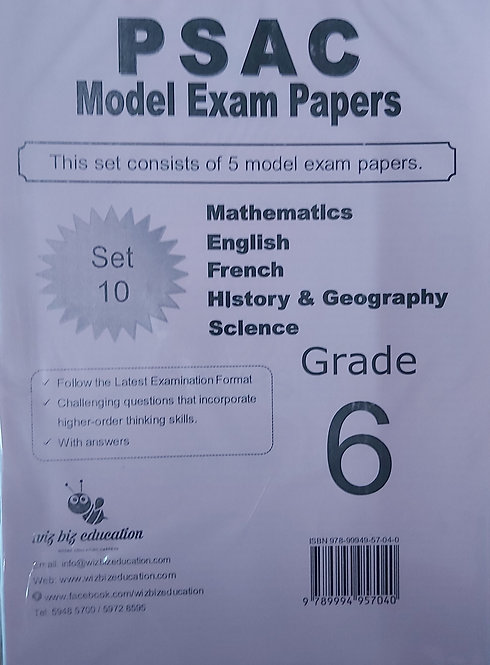 Psac Grade 6 Set 10 Eng/Fren/Maths/Hist&Geo/Science With Answers