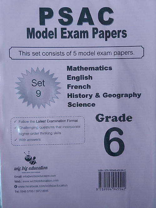 Psac Grade 6 Set 9 Eng/Fren/Maths/Hist & Geo/Science With Answers