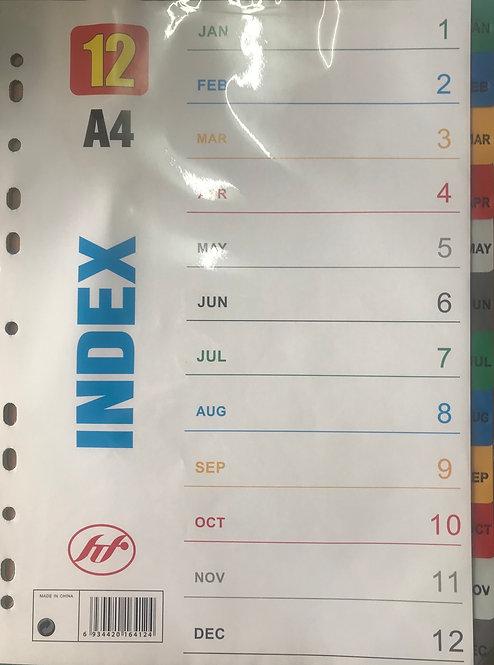 A4 Monthly Index Divider (Jan-Dec)