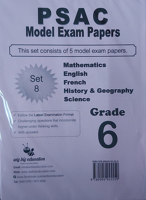 Psac Grade 6 Set 8 Eng/Fren/Maths/Hist & Geo/Science With Answers