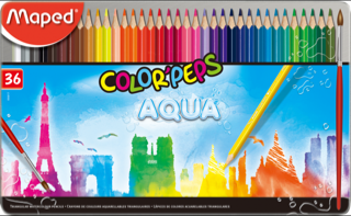 Water Colour Pencil Maped 36 Colours Metal Box