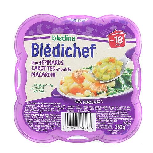 Bledichef Duo D'Épinards, Carottes Et Petits Macaroni 250g