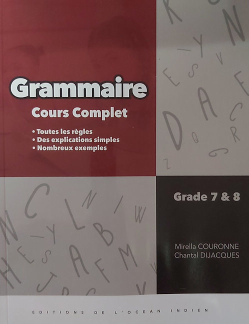 Grammaire Cours Complet Grade 7 & Grade 8