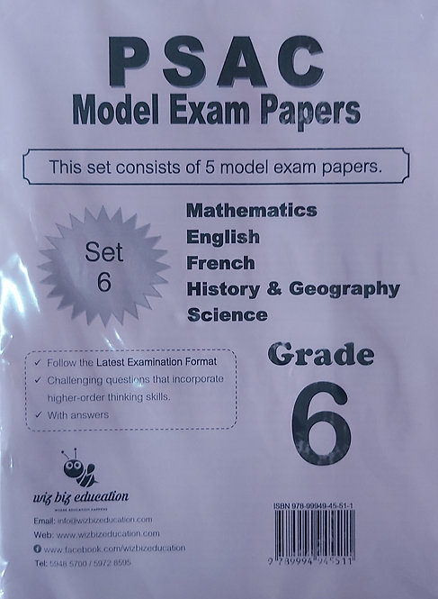 Psac Grade 6 Set 6 Eng/Fren/Maths/Hist&Geo & Science With Answers