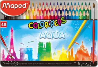 Water Colour Pencil Maped 48 Colours Metal Box