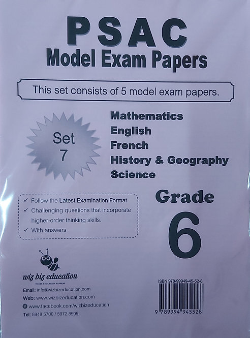 Psac Grade 6 Set 7 Eng/Fren/Maths/Hist & Geo/Science With Answers