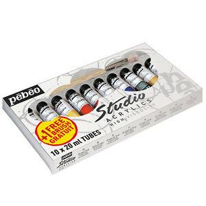 Pebeo Acrylic Studio Pack 10T20Ml + Brush