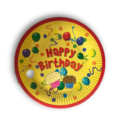 Party Paper Plates Round-Birthday (23cm-pack of 10)