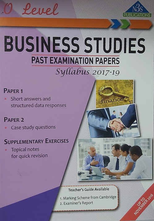 Business Studies O Level Past Exam Papers N3S