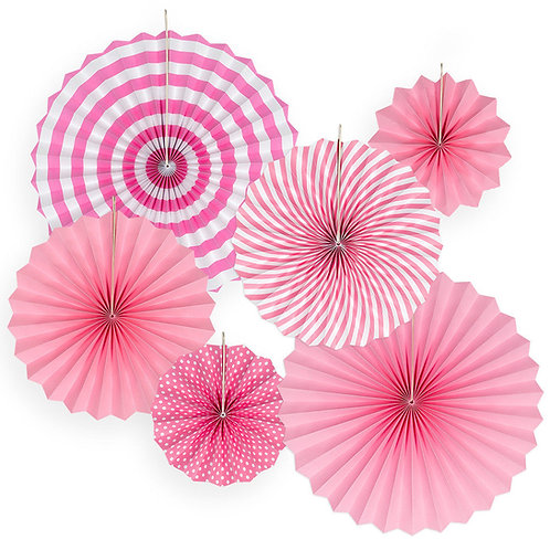 Hanging Paper Flower Fan Set Of 6-Pink