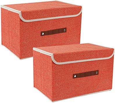 Orange Fabric Storage boxes with handle-Small & Big
