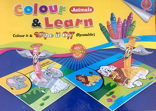 Color & Learn Animals Arts Book Wipe It Off