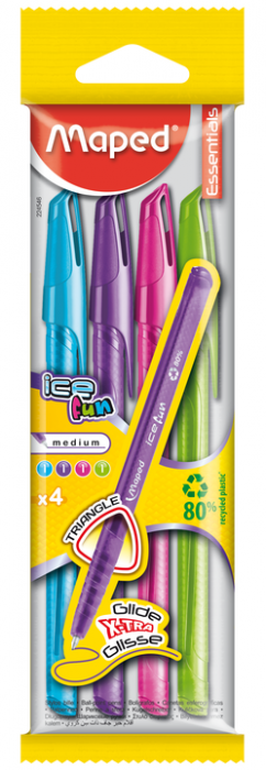 Ball Point Pen Cap Green Ice Fun Flowpack X4