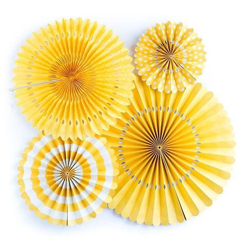 Hanging Paper Flower Fan Set Of 6-Yellow